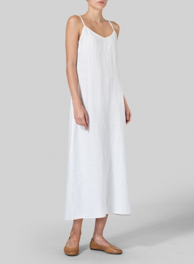 Linen Spaghetti Strap Long Dress