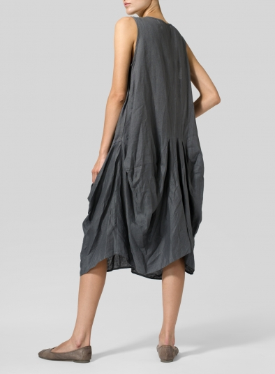 Linen Sleeveless Draped Dress