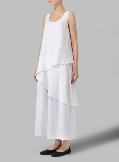 Linen Sleeveless Layered Lightweight Dress