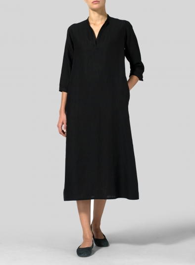bdcf1f081b Black Linen V-neck Mandarin Collar Dress Tunic - Plus Size