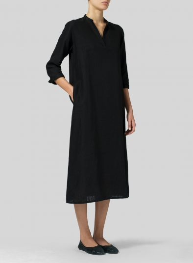 3797dcca69 Black Linen V-neck Mandarin Collar Dress Tunic