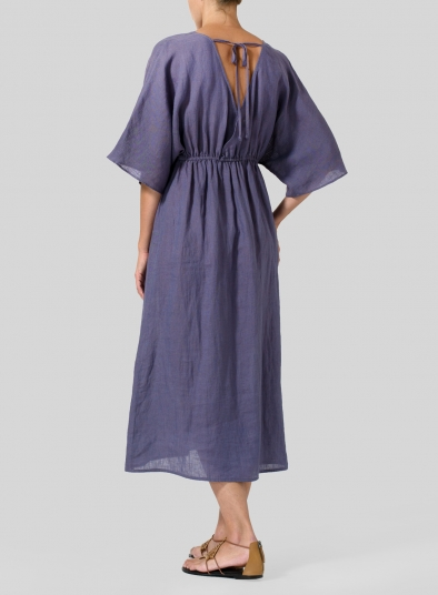 Linen V-Neck Dolman Sleeves Dress