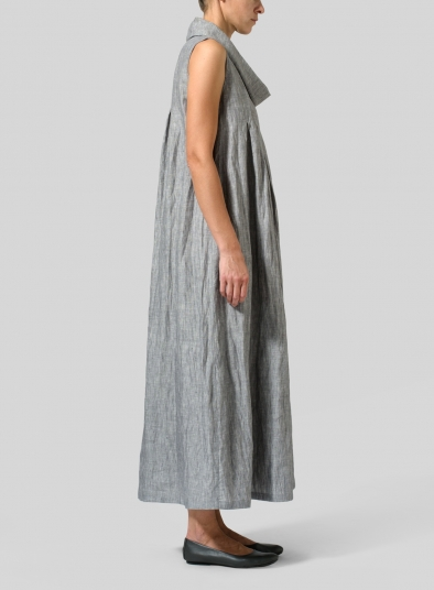 Linen Funnel Neck Long Dress