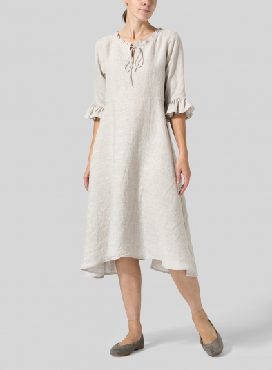 Linen Ruffle Sleeves Long Dress