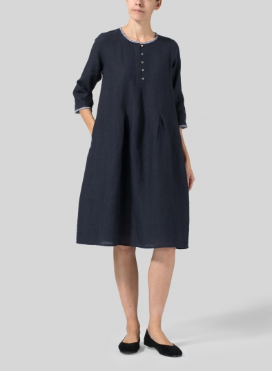 Linen Embroidered Hemline Dress