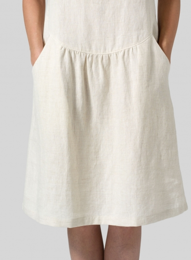 Linen Short Sleeves Knee-Length Dress