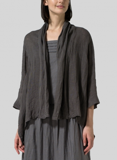 Gauze Linen Shawl Collar Jacket