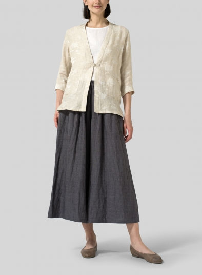 Jacquard Linen Handmade Knot Button Tapered Jacket