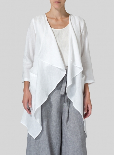 Linen Waterfall Open Jacket