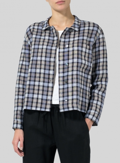 Linen Cropped Shirt Jacket with Pockets