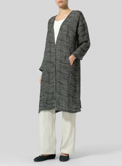 Linen Blend Stripe Long Jacket