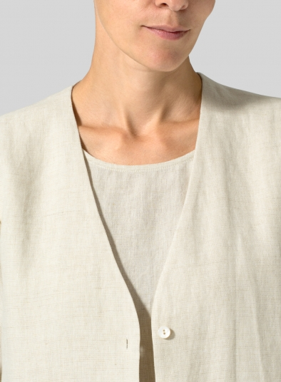 Linen Straight Fit Button-Front Long Jacket