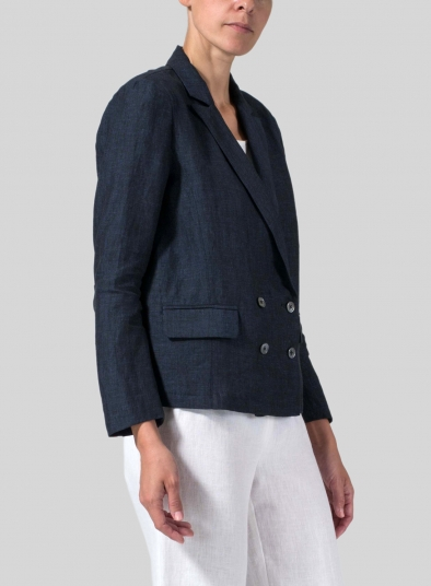 Linen Double-Breasted Cropped Blazer