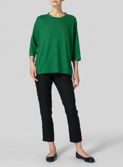 Linen Three-Quarters Sleeve Knit Top