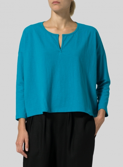 Medium Weight Cotton V-neck Boxy Top