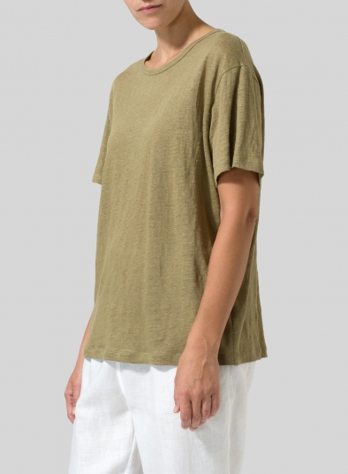 Linen Short Sleeve Jersey Tank Top