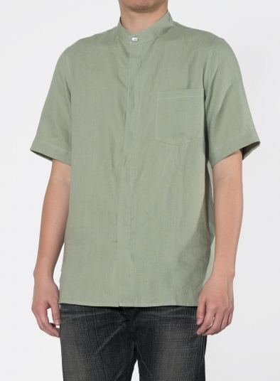 Linen Short Sleeve Concealed Button Men Shirt