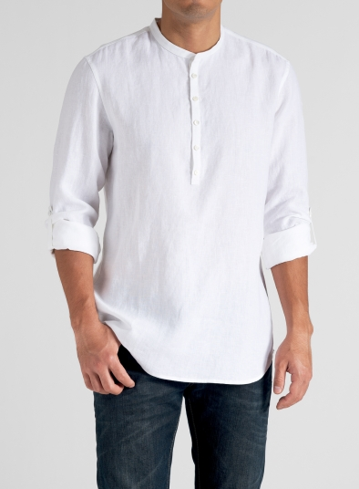 linen men roll up sleeve shirt