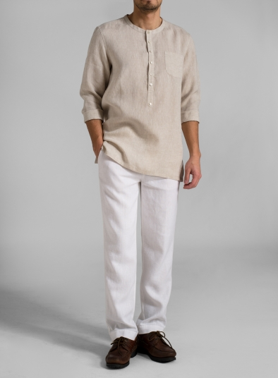 Linen Collarless Men Shirt