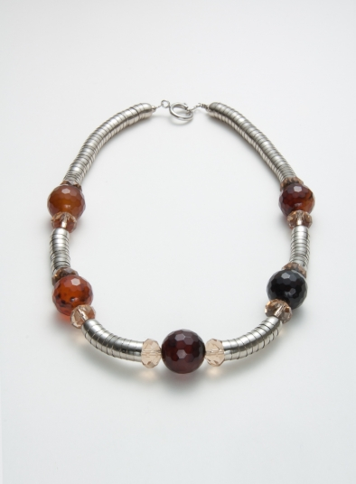 Resin Beads With Metal Strand Necklace