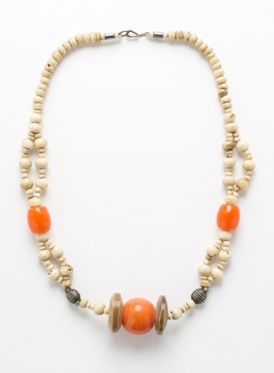 Lightweight Wooden Necklace With Orange Bead