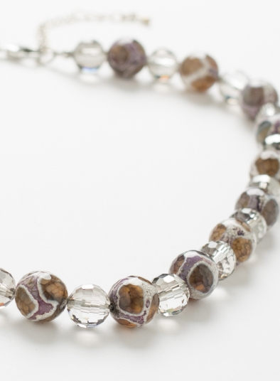 Agate Beaded Collar Necklace