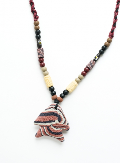 Fish Shape Rock Pendent Braided Necklace
