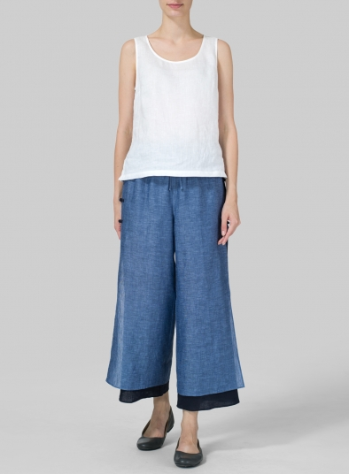 Linen Double-Layer Cropped Pants
