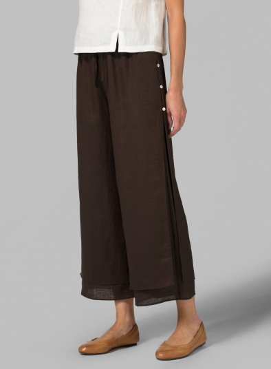 Linen Double-Layer Cropped Pants With Sea Shell Button