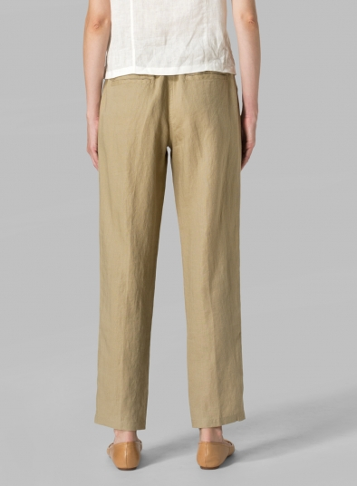Linen Casual Ankle Length Pants