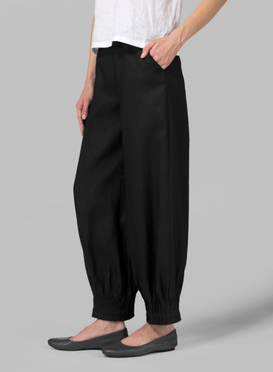 Linen Pleated Cuff Ankle Length Pants