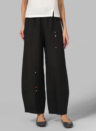 Linen Embroidered Ankle Length Pants