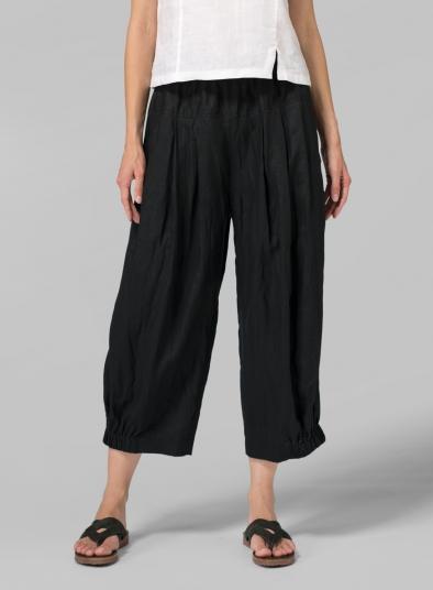 Linen Crumple Effect Harem Pants Long