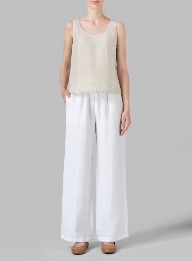 Linen Straight Pull-On Pants