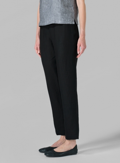 Linen Narrow Ankle Length Cropped Pants