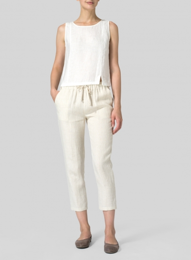 Linen Low Rise Narrow-Leg Cropped Pants