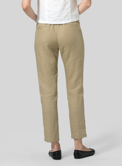 Linen Low Rise Slim Ankle Length Pants
