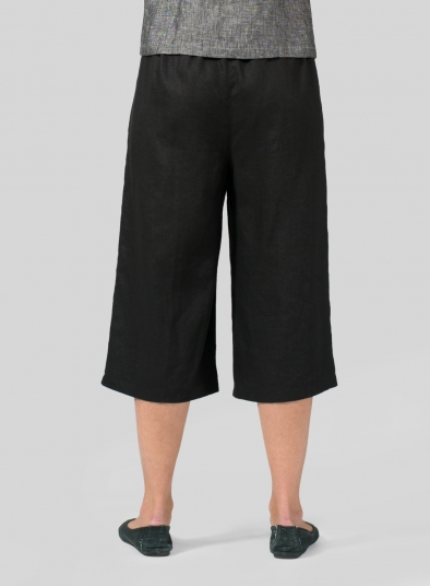 Linen Straight Elastic Cropped Pants