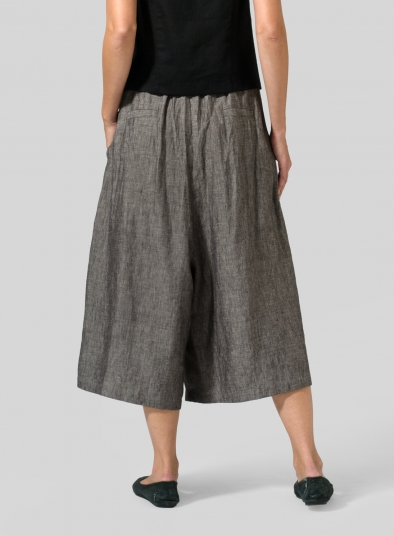 Linen Wide Leg Crop Capri