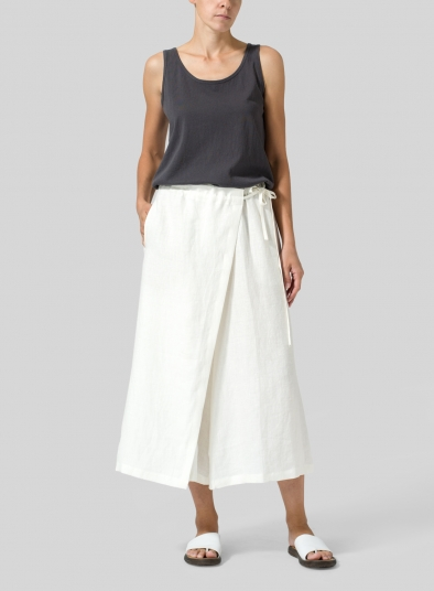 Linen Side-Tie Pleated Wide Leg Pants