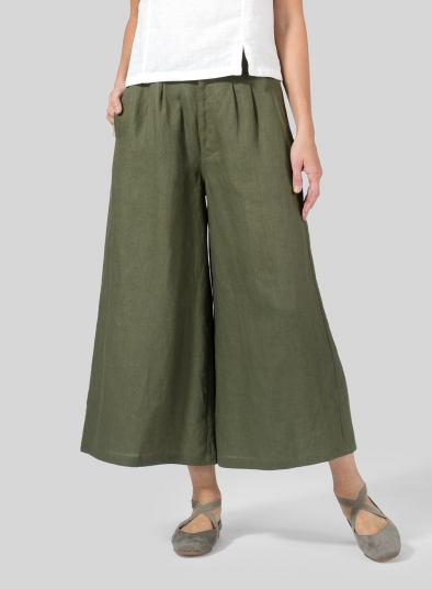 Linen Relaxed Wide Leg Pants
