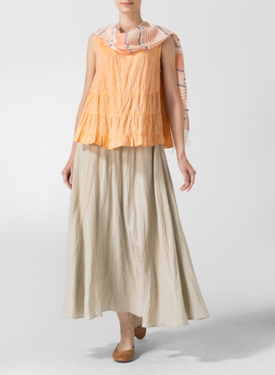 Linen Long Flared Skirt