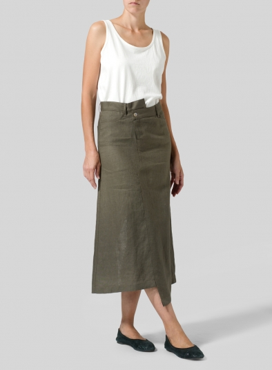 Linen High Waist Irregular Long Split Skirt