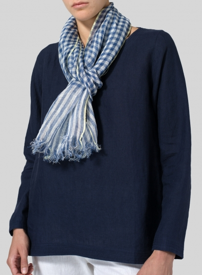 Yarn-Dyed Blue Checked Scarf