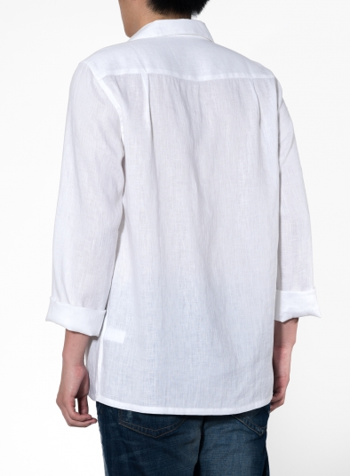 Linen Open V-Collar Long Sleeve Men Shirt