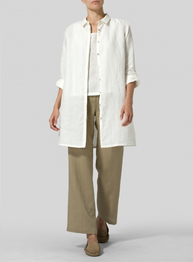 Linen Rolled Sleeve Long Top