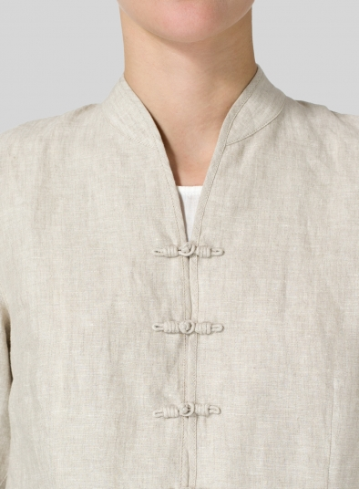 Linen Three Quarter Chinese Blouse