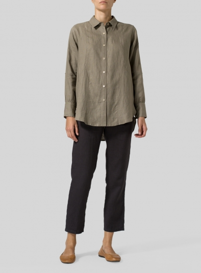 Linen Long Sleeve Uneven Hem Shirt