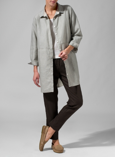 Linen Cotton Contrast Fold Over Collar Shirt