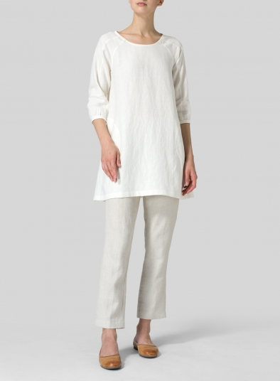 Linen Elbow Sleeve Tunic
